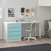 Кровать-чердак/4 ящика/2 дверцы, белый, голубой, 207x99x182 см