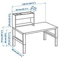 Стол с дополнительным модулем, белый, зеленый, 128x58 см