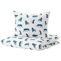 Пододеяльник и 1 наволочка, тигр, синий, 150x200/50x70 см