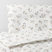 Пододеяльник, наволочка д/кроватки, орнамент «кролики», белый/бежевый, 110x125/35x55 см