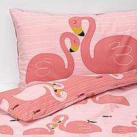 Пододеяльник, наволочка д/кроватки, фламинго, розовый, 110x125/35x55 см