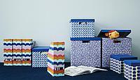 Коробка с крышкой, синий, разноцветный, 25x35x20 см