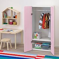 Шкаф платяной, белый, светло-розовый, 60x50x128 см