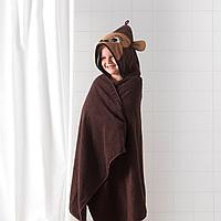 Полотенце с капюшоном, обезьянка, коричневый, 70x140 см