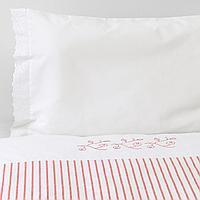 Пододеяльник, наволочка д/кроватки, в полоску, красный, 110x125/35x55 см