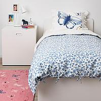 Пододеяльник и 1 наволочка, бабочка, белый синий, 150x200/50x70 см