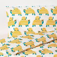 Пододеяльник, наволочка д/кроватки, черепаха желтый, 110x125/35x55 см