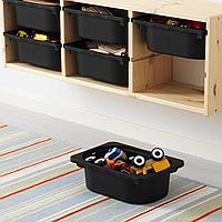 Настенный модуль для хранения, светлая беленая сосна, черный, 93x21x30 см