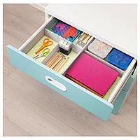 Комод с 3 ящиками, белый, голубой, 60x64 см