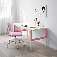 ПОЛЬ Письменный стол, белый, розовый, 128x58 см, фото 1