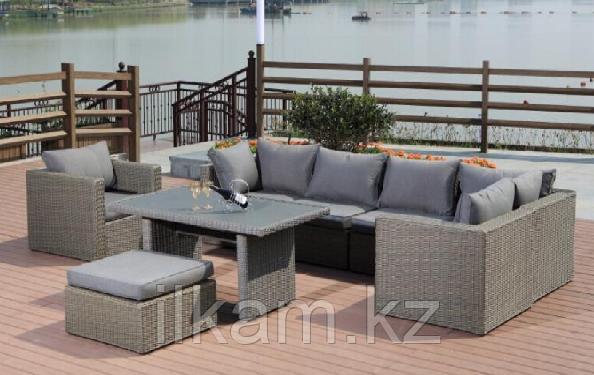 Комплект мебели угловой диван, кресло , пуфик, прямоугольный журнальный столик, фото 2