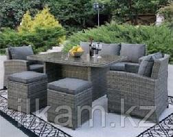 Комплект мебели 3-х местный диван, 2кресла , 2 пуфика, прямоугольный журнальный столик
