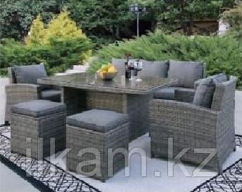 Комплект мебели 3-х местный диван, 2кресла , 2 пуфика, прямоугольный журнальный столик, фото 2