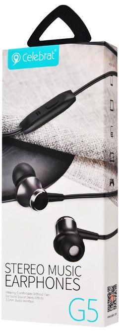 Наушники проводные с микрофоном Celebrat G5 Black