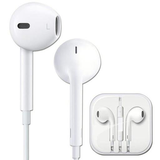 Наушники проводные с микрофоном IPhone с яблоком белые Качество AAA