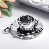 """Декор металл для творчества """"Чашка на блюдце с ложкой"""" (А15423) 2,2х2,5 см"""
