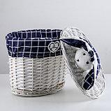 Корзина универсальная плетёная Доляна Love, 32,5×21,5×33 см, круглая, фото 2