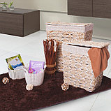 Корзина универсальная плетёная с крышкой Доляна «Белый шоколад», 39×30×48 см, фото 4