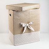 Корзина универсальная плетёная с крышкой Доляна «Грей квадро», 42,5×32×50 см, цвет бежевый, фото 2
