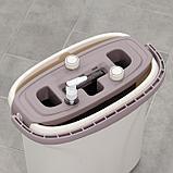 Набор для уборки: ведро с отсеком для полоскания и отжима 8 л, швабра плоская, запасная насадка из микрофибры, фото 6