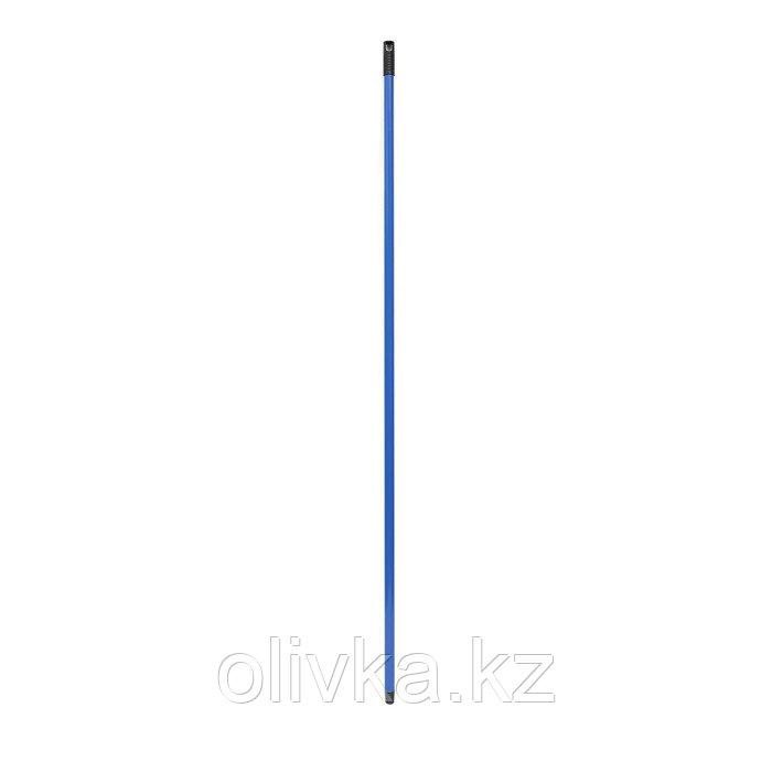 Ручка для швабры, металл с покрытием, с резьбой, цвет синий, 140 см