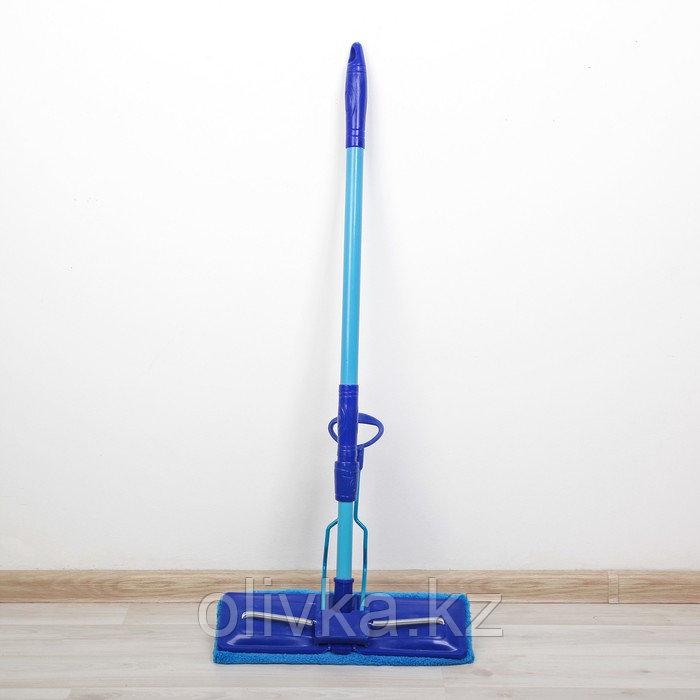 Швабра плоская со складным отжимом Доляна, телескопическая ручка 77-114 см, насадка микрофибра 32×9 см, цвет