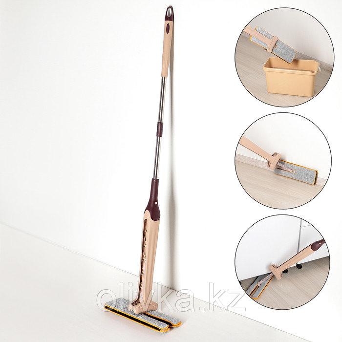 Швабра плоская с отжимом, ручка 134 см, двусторонняя насадка микрофибра 38×12 см