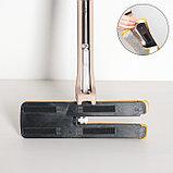 Швабра плоская с отжимом, ручка 134 см, двусторонняя насадка микрофибра 38×12 см, фото 3