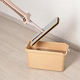 Швабра плоская с отжимом, ручка 134 см, двусторонняя насадка микрофибра 38×12 см, фото 4