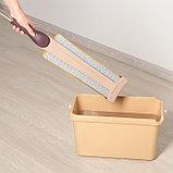 Швабра плоская с отжимом, ручка 134 см, двусторонняя насадка микрофибра 38×12 см, фото 6