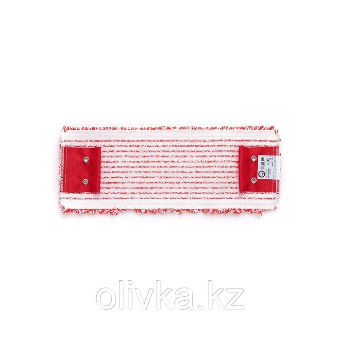 Насадка для швабры WET, плоская микрофибра, цвет красный/белый, 40 см