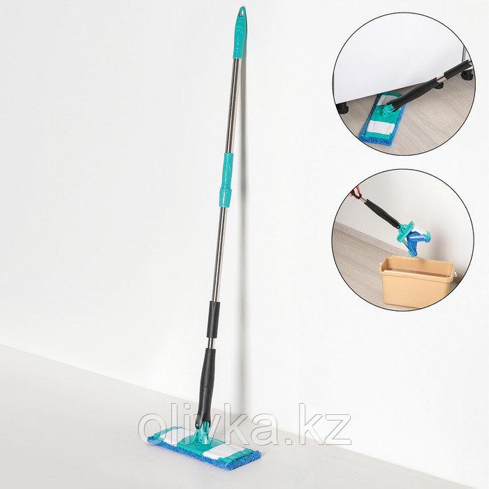 Швабра плоская с отжимом Доляна «Twist», телескопическая ручка 95-120, насадка микрофибра 32×9 см, цвет синий