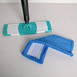 Швабра плоская с отжимом Доляна «Twist», телескопическая ручка 95-120, насадка микрофибра 32×9 см, цвет синий, фото 4
