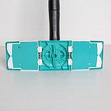 Швабра плоская с отжимом Доляна «Twist», телескопическая ручка 95-120, насадка микрофибра 32×9 см, цвет синий, фото 5