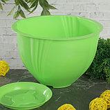 Кашпо с поддоном 1 л Diana, цвет зеленый, фото 2