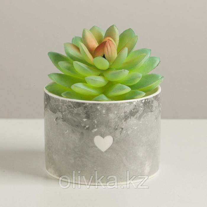 Керамический белый горшок «Сердце», 8 х 5,5 см