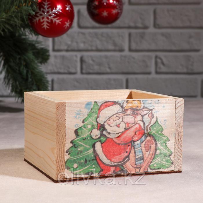 """Кашпо деревянное """"Массив Символ года 2021. Коровка и Санта"""", 12,5×10×9,5 см"""