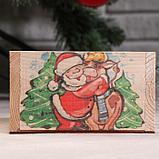 """Кашпо деревянное """"Массив Символ года 2021. Коровка и Санта"""", 12,5×10×9,5 см, фото 3"""