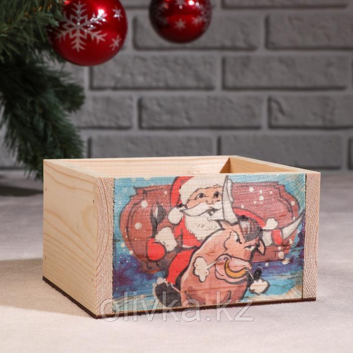 """Кашпо деревянное """"Массив Символ года 2021. Санта на быке"""", 12,5×10×9,5 см"""
