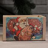 """Кашпо деревянное """"Массив Символ года 2021. Санта на быке"""", 12,5×10×9,5 см, фото 3"""