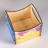 """Кашпо деревянное 11×10×11 см флористическое """"Поздравляю! С Днём Рождения!"""" с наклейкой, фото 2"""