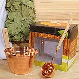 """Набор для бани """"Каменка"""" из двух предметов (ушат и черпак) медный, в коробке, фото 4"""