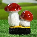 """Садовая фигура """"Пара боровиков на пне"""", белый цвет, 18,5 см, фото 3"""