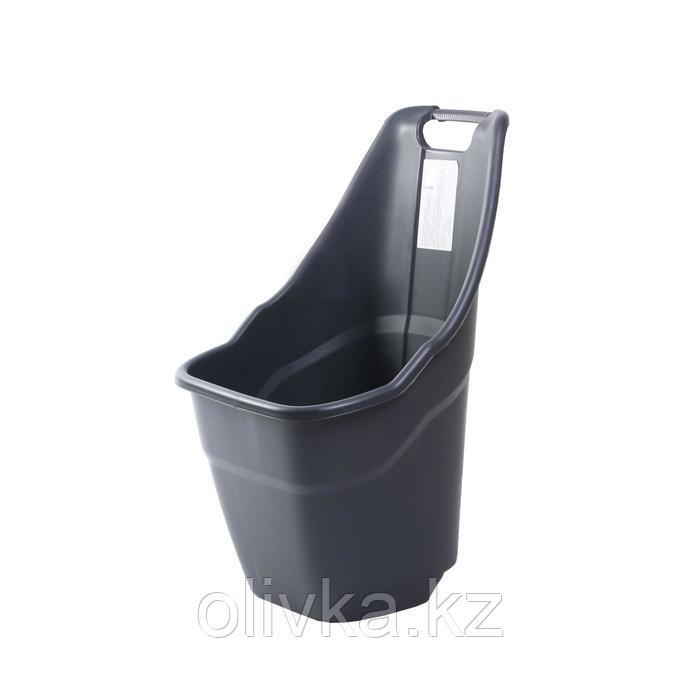 Тележка садовая, пластиковая, груз/п 55 кг, объём 55 л, тёмно-серая