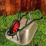 Тачка садово-строительная, одноколёсная: объём 65 л, груз/п 150 кг, пневмоколесо 3.00-8, кузов 0,6 мм, разборная рама, фото 3