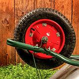 Тачка садово-строительная, одноколёсная: объём 65 л, груз/п 150 кг, пневмоколесо 3.00-8, кузов 0,6 мм, разборная рама, фото 5