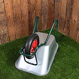 Тачка садово-строительная, одноколёсная: груз/п 180 кг, объём 100 л, пневмоколесо 4.00-8, кузов 0,8 мм, фото 3