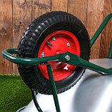Тачка садово-строительная, одноколёсная: груз/п 180 кг, объём 100 л, пневмоколесо 4.00-8, кузов 0,8 мм, фото 4
