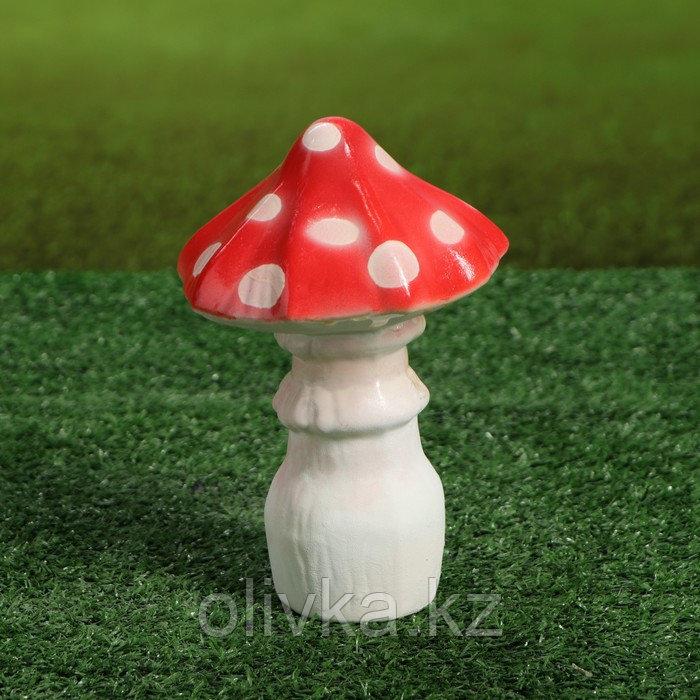 """Садовая фигура """"Мухомор малютка"""", красный цвет, 18 см"""