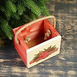 """Кашпо деревянное """"Ёлочная гирлянда"""", ручка- шнур, 12,5х10,5х9,5см, фото 2"""